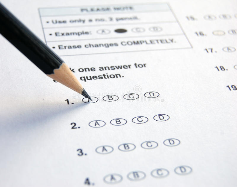 Multiple Choice Exam stock photos