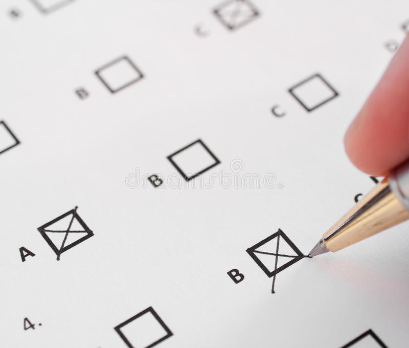 Multiple choice test. Closeup of a multiple choice test royalty free stock image