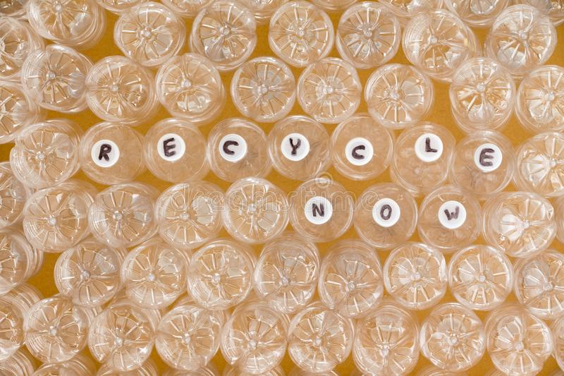 Multiple clean plastic bottles ready to recycle stock image