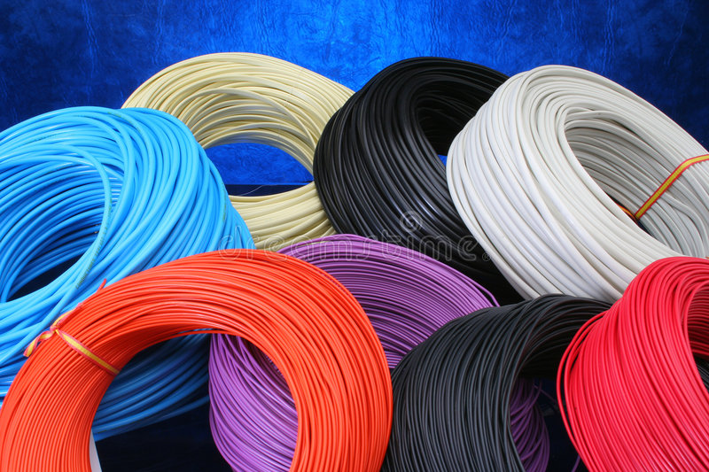 Multiple color cables stock image
