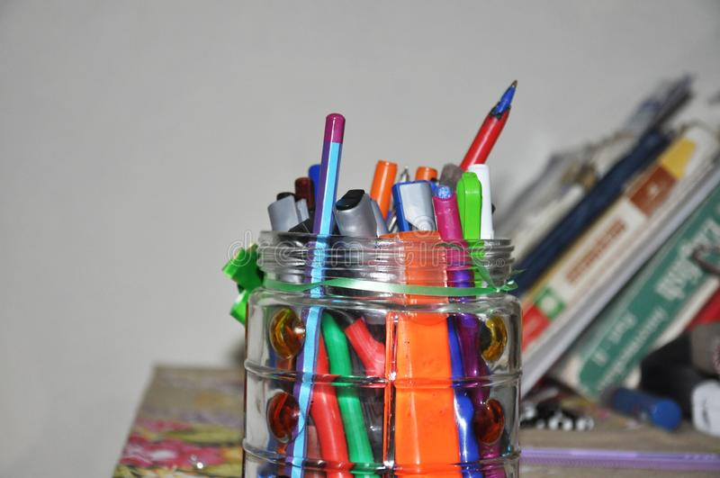 Multiple colored pens royalty free stock image