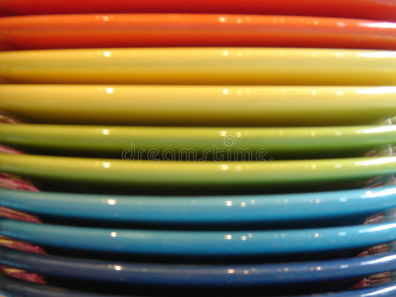 Multiple Colored Porcelain Plates Royalty Free Stock