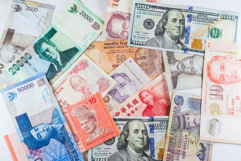 Multiple Currencies banknotes as colorful background. Showed the global money financial business economy crisis stock photography