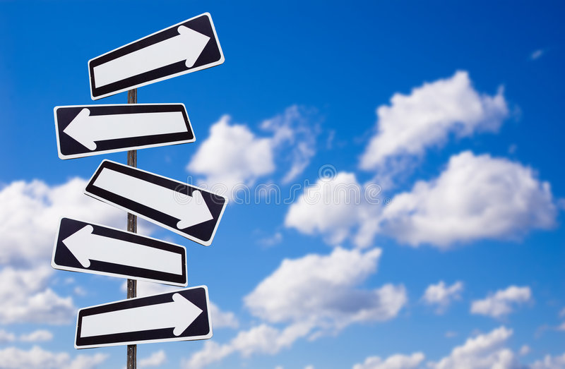 Multiple directions signs on blue sky royalty free illustration