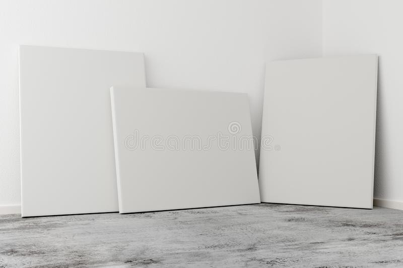 Multiple empty picture frames canvases leaning against white wall in bright room with concrete floor with copy space - portfolio,. Multiple empty picture frames royalty free illustration