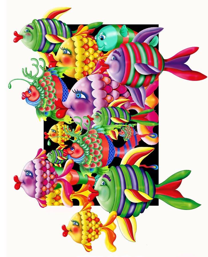 Multiple exaggerated designed Fish royalty free stock image