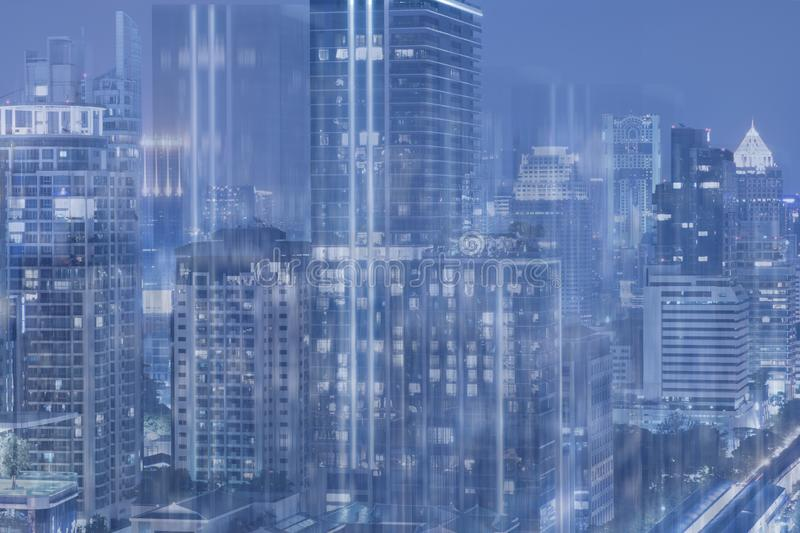 Multiple exposure city abstract background art blue tone scifi stock photos