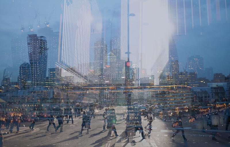 Multiple exposure of city commuters and skyscrapers in London stock images