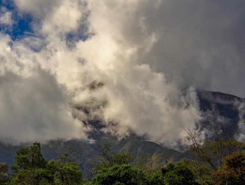 Multiple exposure of clouds rolling down. From the top of Iguaque mountain at the central region of the Colombian Andes. II royalty free stock photo
