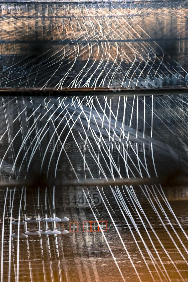Multiple exposure of railway tracks showing the abstract lines royalty free stock photography
