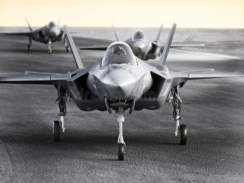 Multiple F35 military jet strike aircraft preparing for takeoff on a strike mission. 3d rendering stock illustration