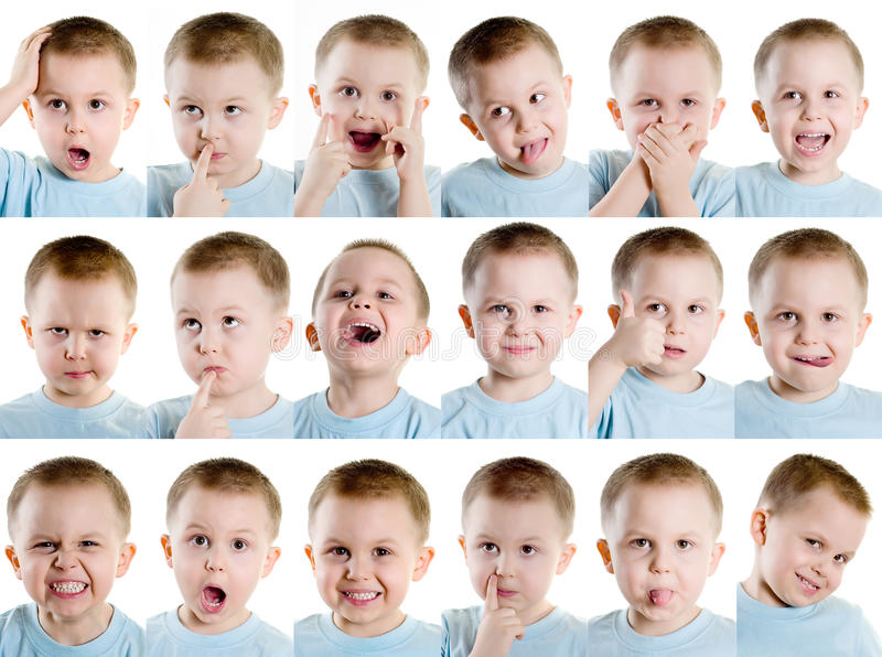 Multiple facial expression stock photography