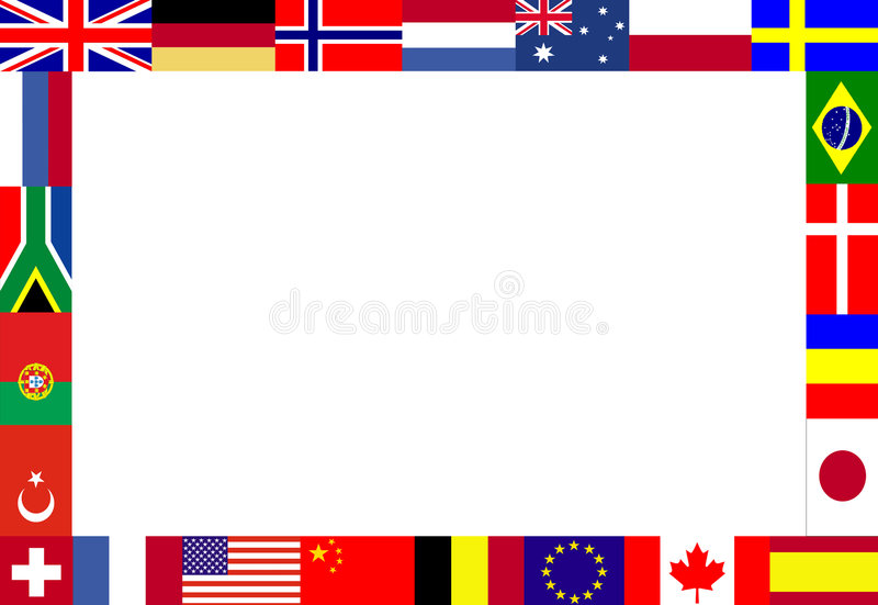 Multiple flags frame. Frame, composed of multiple flags vector illustration