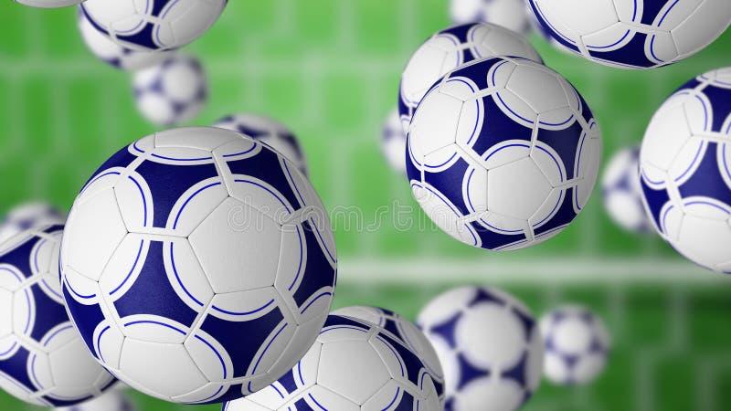 Multiple football balls falling against gate and green grass field. 3D rendering. Football balls falling against gate and green grass field. 3D stock photography