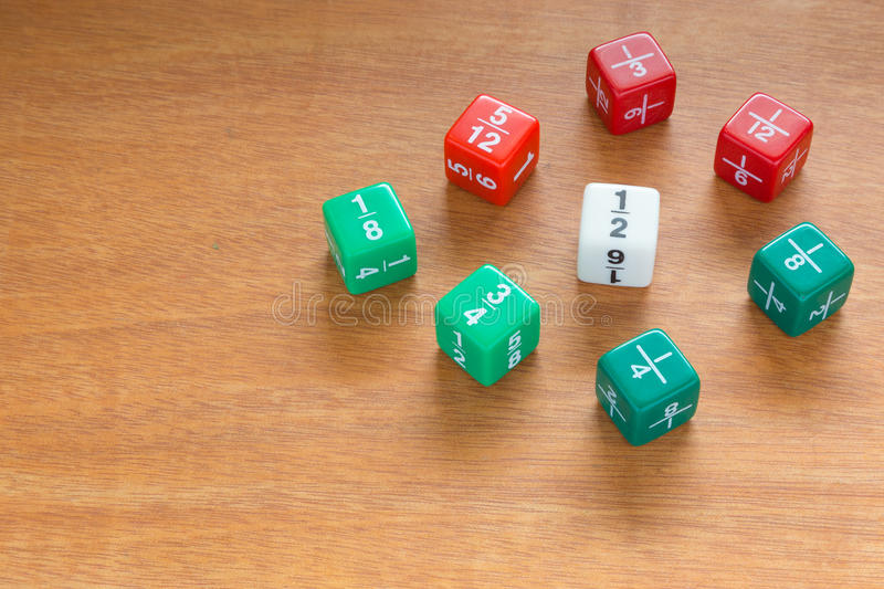 Multiple fraction dices stock photos