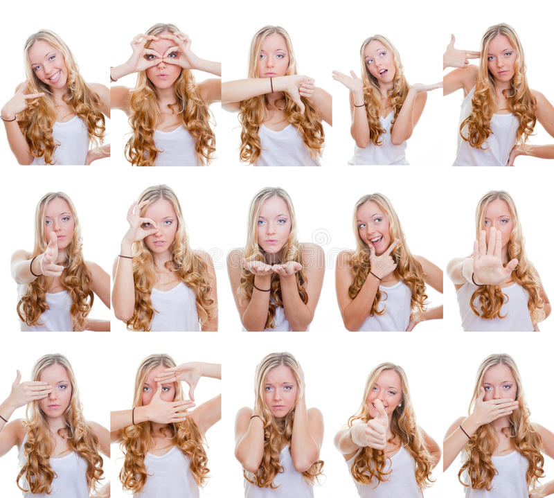 Download Multiple gestures or signs stock photo. Image of hair - 28531248