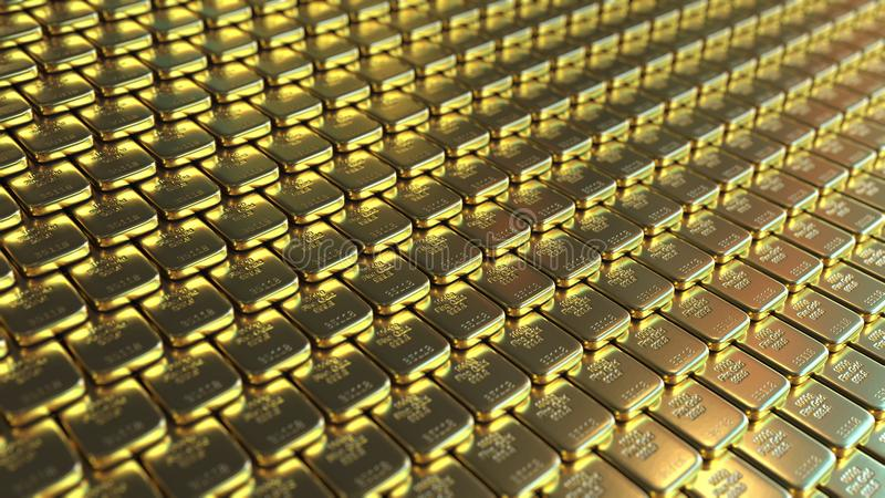 Fine gold bars. 3D rendering royalty free stock images