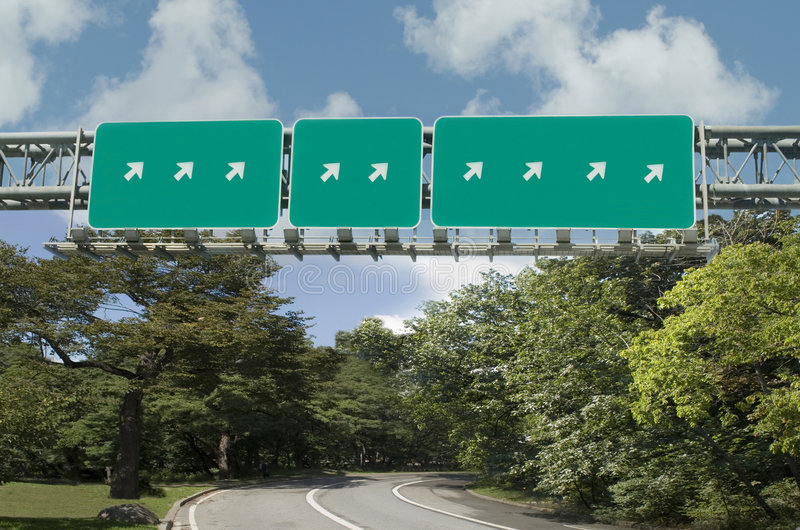 Download Multiple Highway Signs Pointing In Same Direction Stock Image - Image of arrows, obvious: 5639191