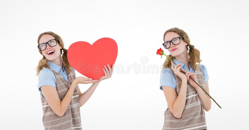 Multiple image of woman holding heart and rose over white background vector illustration