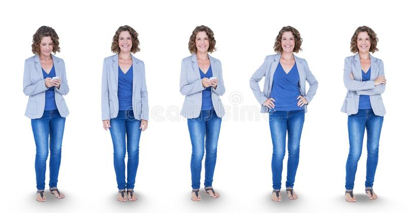 Multiple image of woman standing in various poses royalty free stock photo