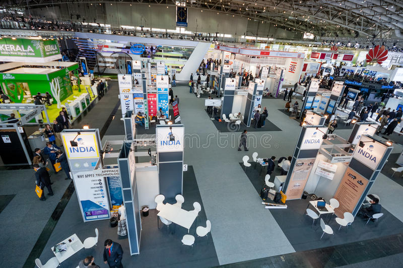 Multiple India booths at CeBIT information technology trade show. HANNOVER, GERMANY - MARCH 15, 2016: Multiple India booths at CeBIT information technology trade royalty free stock images