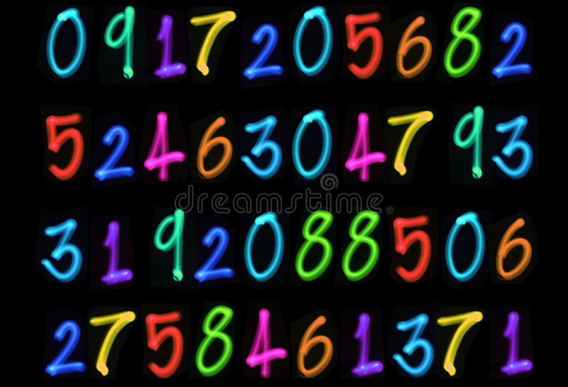 Download Multiple light numbers stock image. Image of information - 1212187