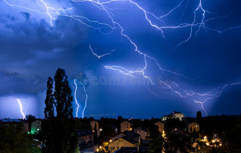 Multiple Lightning Strikes in Dramatic Sky Storm Manipulation. Multiple Lightning Strikes in Dramatic Sky Storm royalty free stock images