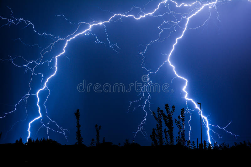 Multiple lightning strikes in the night skies. Multiple lightning strike in the night skies stock image