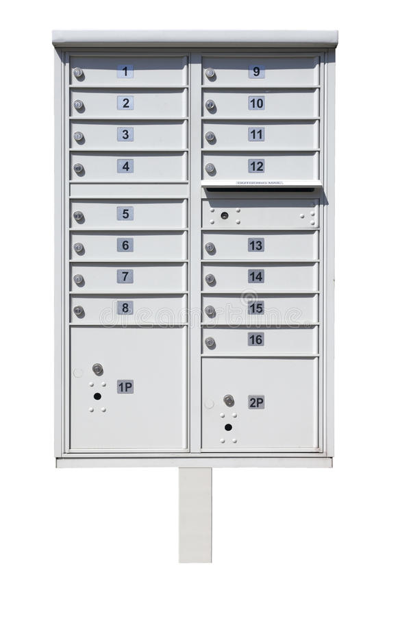 Multiple Mailboxes on Metal Pole stock photo