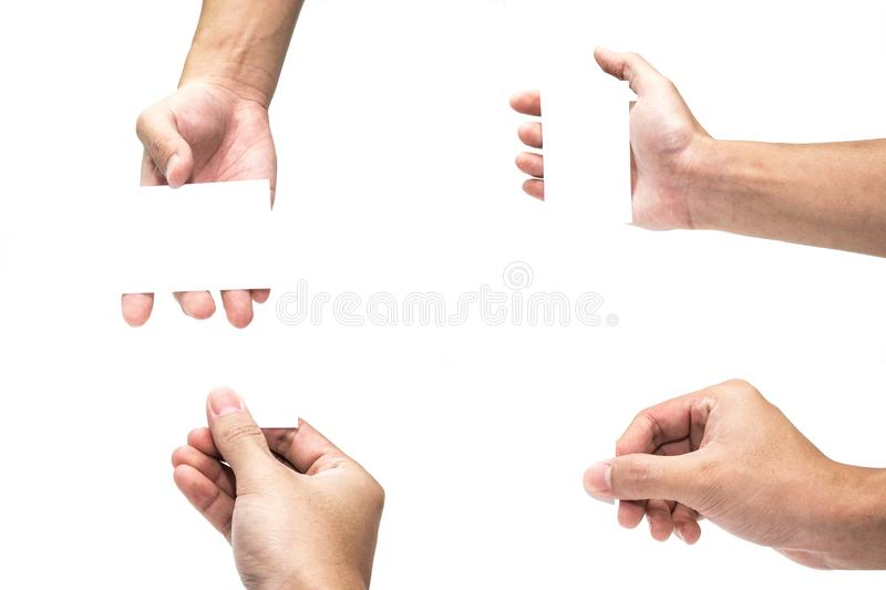 Multiple Male Hand Gestures isolated over white background. business set hand holding blank card royalty free stock image