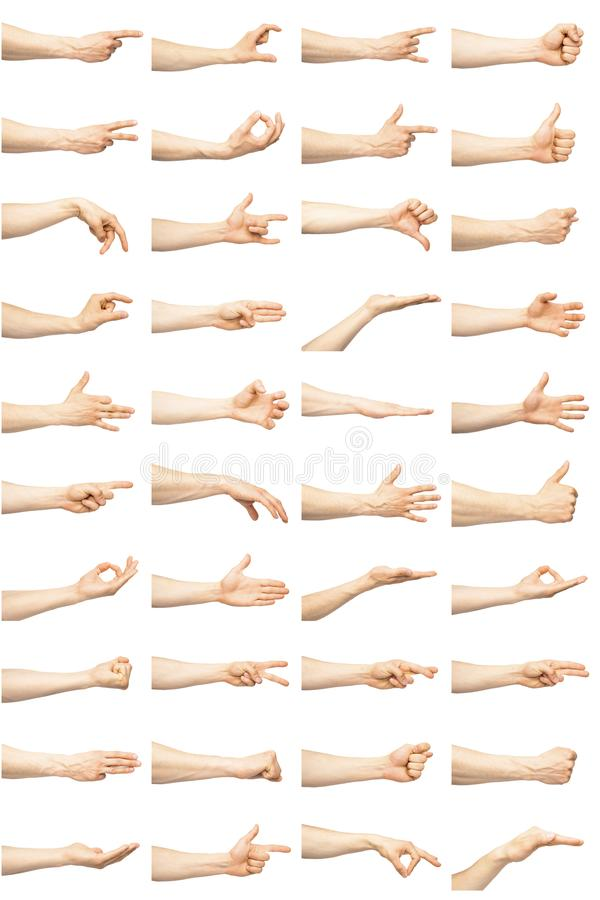 Multiple male hand gestures royalty free stock photos