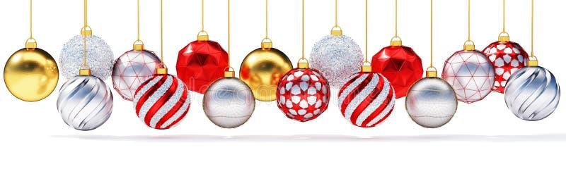 Multiple metallic christmas balls isolated on white background. vector illustration