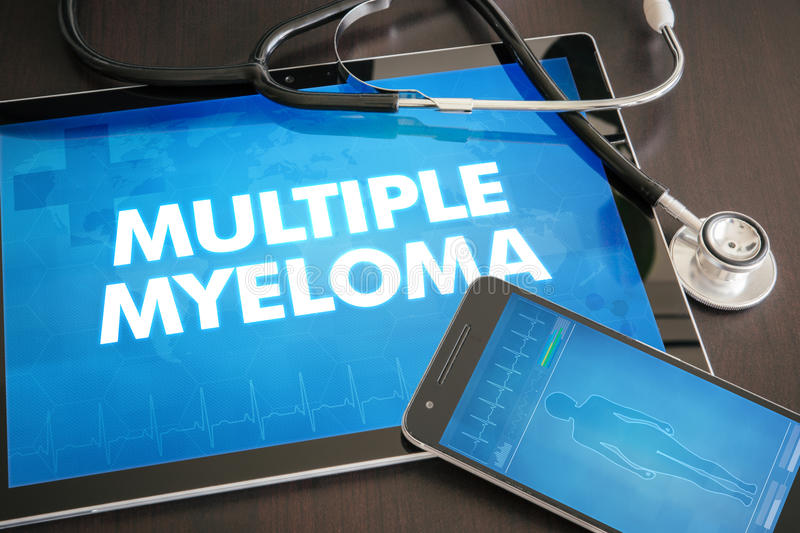 Multiple myeloma (cancer type) diagnosis medical concept on tablet screen with stethoscope.  royalty free stock photography