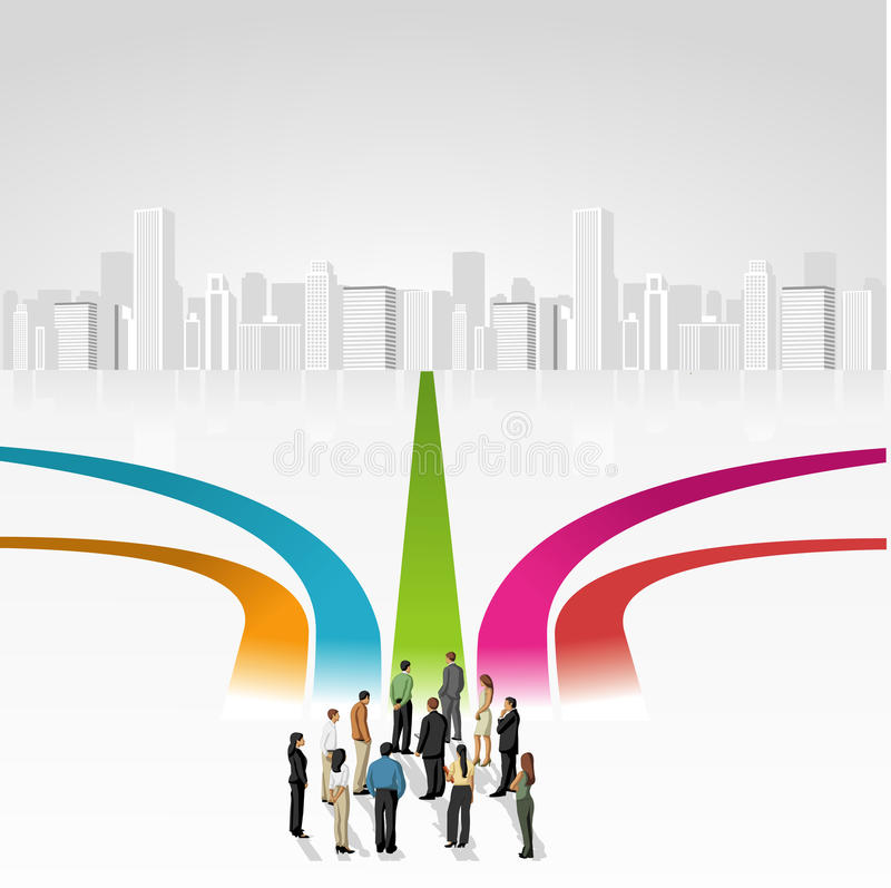 Multiple options. Group of business people choosing the right path. Multiple options stock illustration