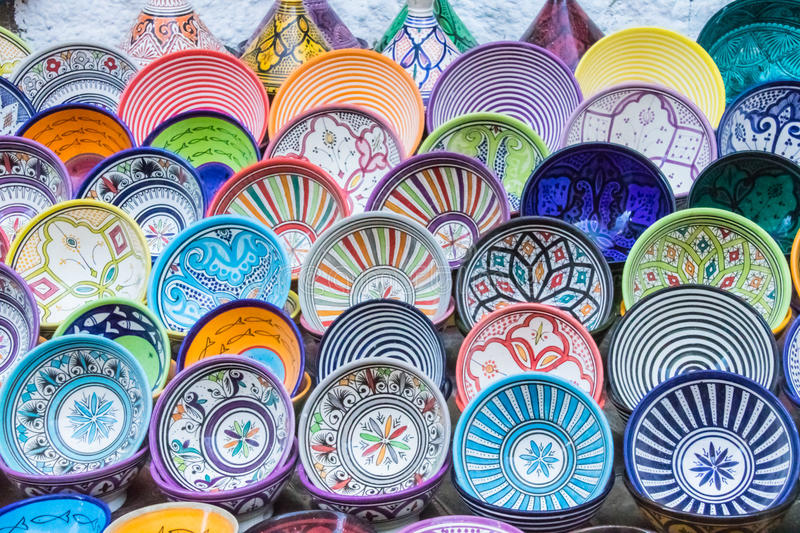 Multiple Patterned and Colored Dishes royalty free stock photography