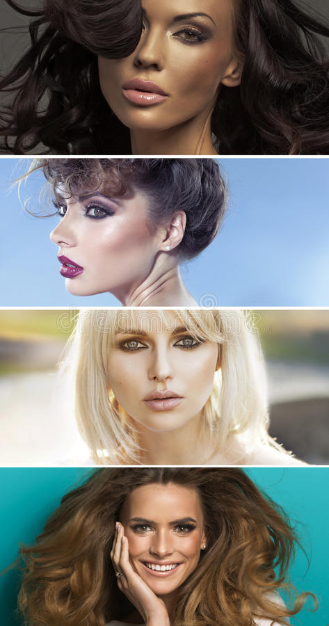 Multiple portrait of four sensual women stock photo