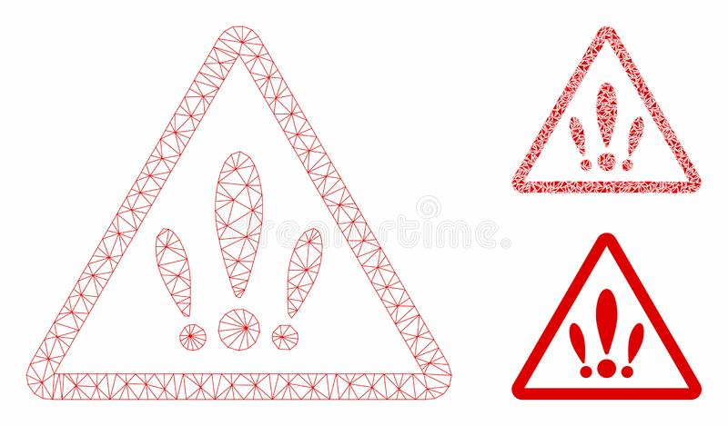 Multiple Problems Vector Mesh Carcass Model and Triangle Mosaic Icon. Mesh multiple problems model with triangle mosaic icon. Wire carcass triangular mesh of vector illustration