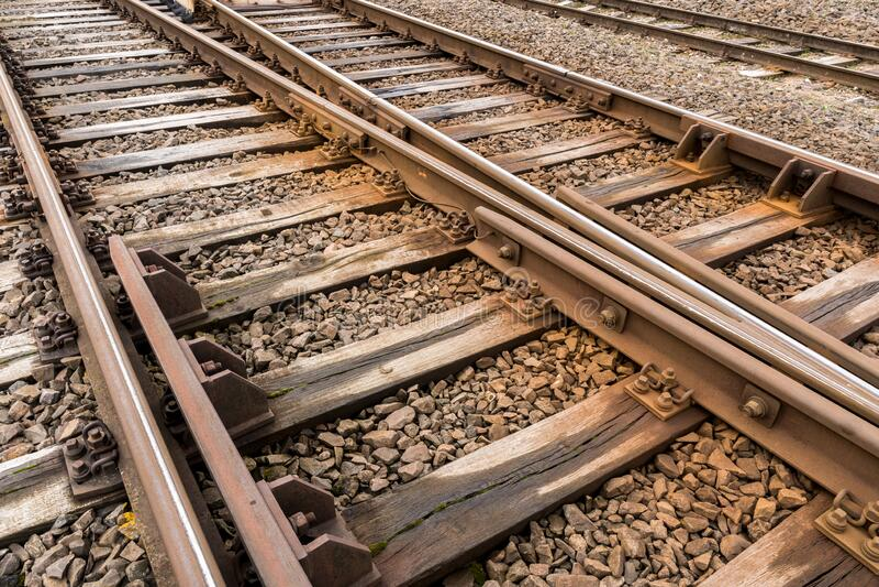 Multiple rail tracks royalty free stock photography