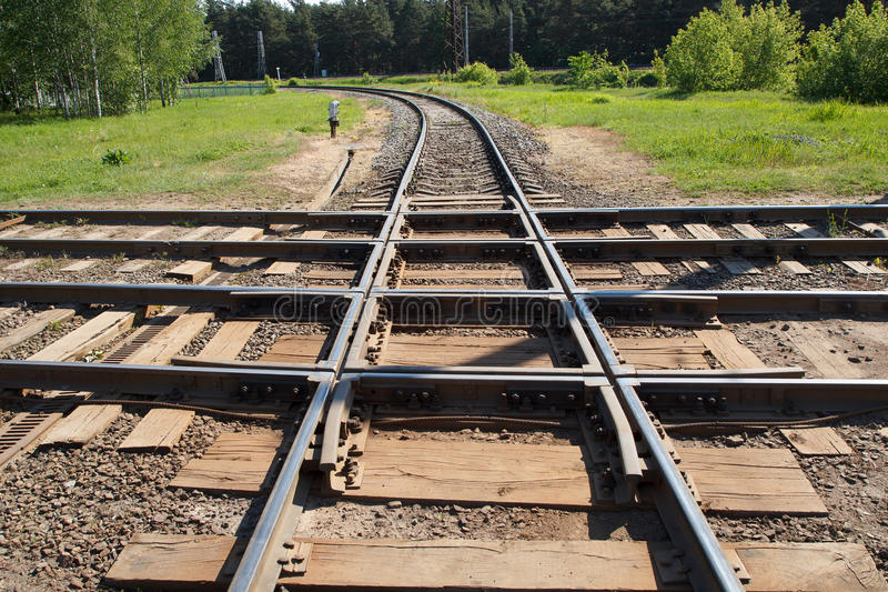 Multiple railroads crossing royalty free stock photography