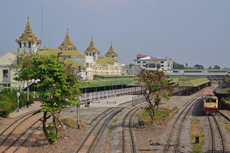Multiple railway tracks behind Yangon Central Railway Station stock photography