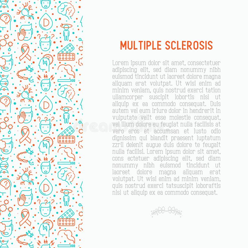 Multiple sclerosis concept with thin line icons vector illustration
