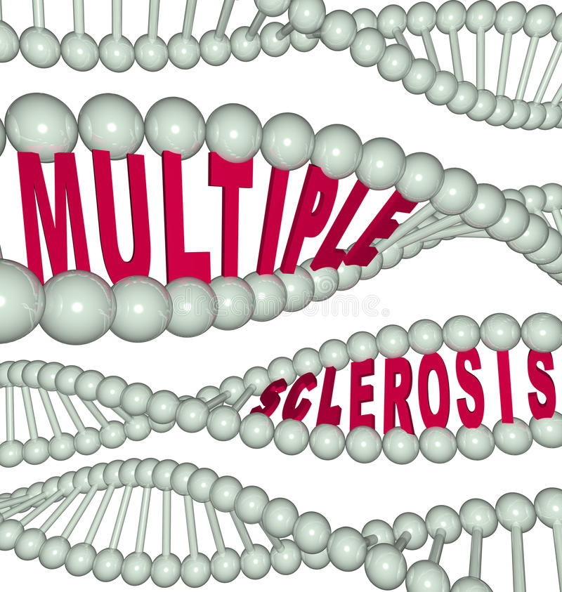Multiple Sclerosis in DNA Strand. The words Multiple Sclerosis hidden in a strand of DNA vector illustration
