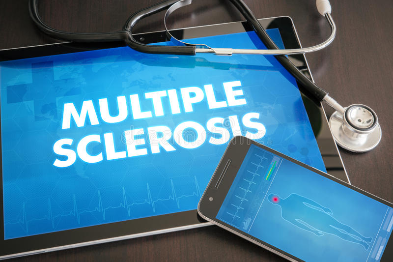 Multiple sclerosis (neurological disorder) diagnosis medical con royalty free stock images