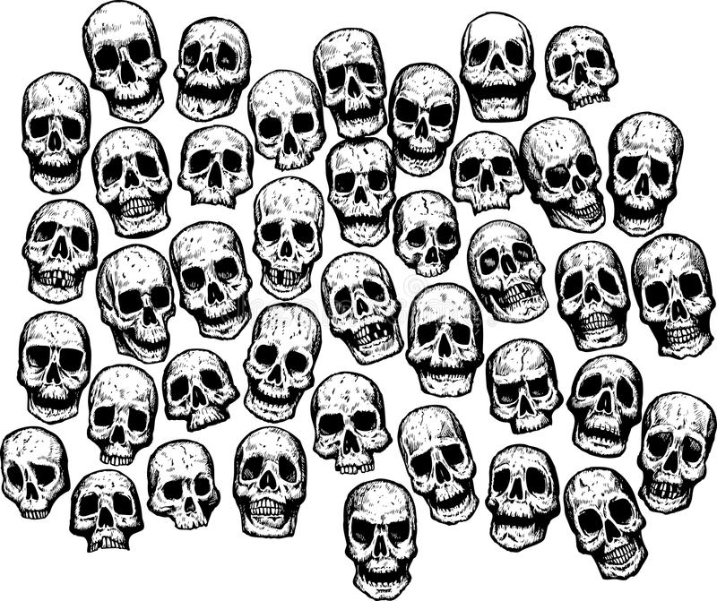 Multiple Skulls vector illustration