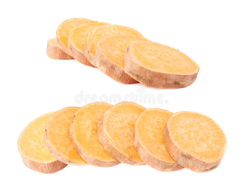 Multiple slice sections of the sweet potato. Or Ipomoea batatas aligned in a line, composition isolated over the white background, set of two different stock photography
