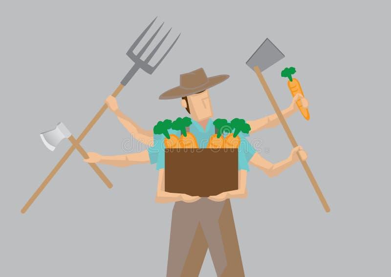 Multiple-tasking Busy Farmer Carton Character Vector Illustration. Vector illustration of busy farmer cartoon character with multiple arms holding different work vector illustration