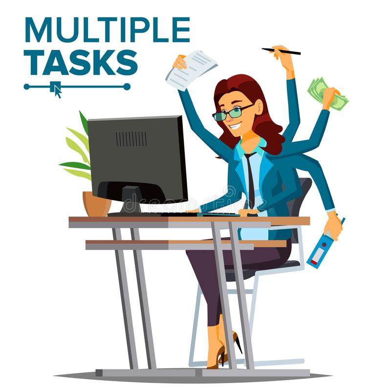Multiple Tasks Business Woman Vector. Many Hands Simultaneously. Financial Occupation. Talented Worker. Flat Cartoon stock illustration