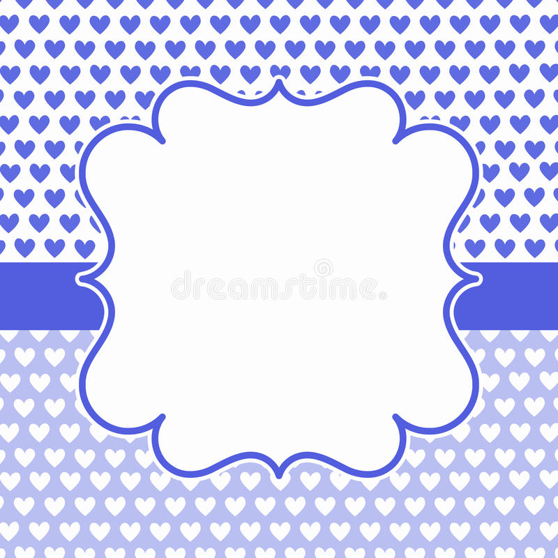 Blue Hearts Frame Invitation Card Stock Photo - Image of blue ...