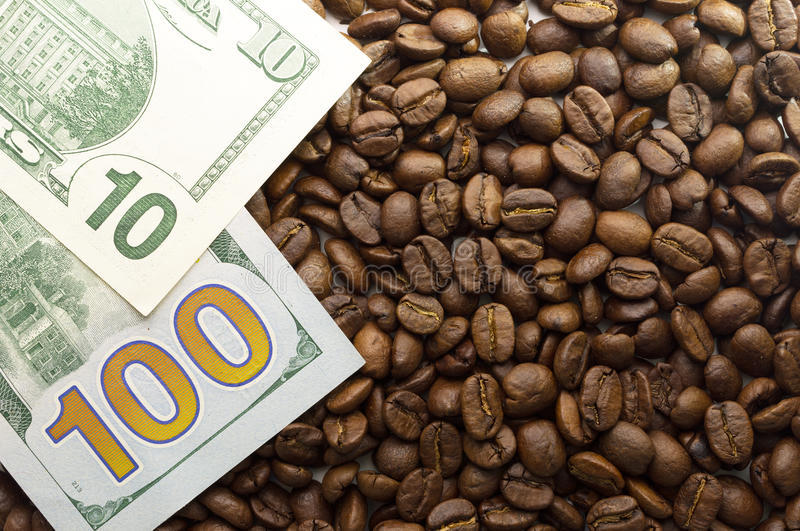 Multiple US dollars. Background of dollars with coffee royalty free stock photos