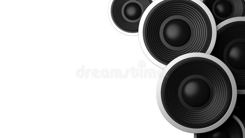 Multiple various size black sound speakers on white background, copy space. 3d illustration stock illustration
